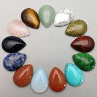 Cristal Natural Pedra Semipreciosa 25x18mm Gota de Água Opala Rosa de Quartzo Turquesa Remendo Face para Natural Stone Colar Anel Earrings Jóias Fazendo