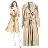 Mid Long Waist Tie Thin Women's Boutique Windbreaker 972402 Trench Coats