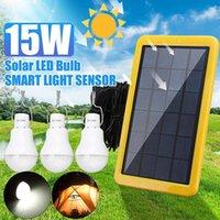 Lawn Lamps Portable Solar Lamp 15W LED Light Bulb Energy Panel Powered Tent Lights Courtyard Emergency Saving