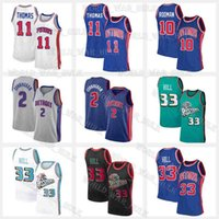 "Cade 2 Cunningham Basketbol Formaları 2021 Taslak Grant 33 Hill Jersey Mens Detroit ""Pistonlar"" Dennis 10 Rodman Isiah 11 Thomas Mavi Gerileme Vince 15 Carter"