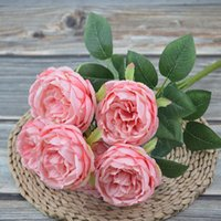 Artificial Silk Peony Flowers Bouquets 7 Heads Core Spun Peonys Wedding Home Decoration White Champagne Blue Pink GGA4651