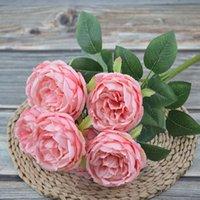 الحرير الاصطناعي الفاوانيا باقات الزهور 7 رؤساء الأساسية نسج الفاينز الزفاف المنزل الديكور الأبيض الشمبانيا زرقاء الوردي GGA4651