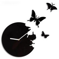 벽시계 시계 세련된 30 * 30cm DIY 룸 장식 큰 크기 스티커 블랙과 레드 현대 나비