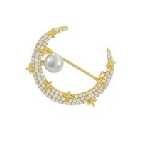 Luxury Designer Brooches Shining diamond moon Pearl Brooch net red personalized clothing accessories