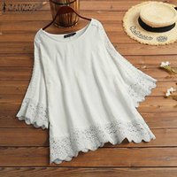 Kaftan Sexy Hollow Holiday Chemise Half Sleeve Blouses Casual Loose ZANZEA Women Solid Shirt Lace O Neck Tops 2021 Plus Size 5XL Women's & S