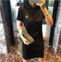 Summer 2021 Women's Dresses Preppy Style Polo Shirt Medium Long T-Shirt Skirt Short Sleeve slim dress