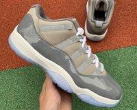 Jumpman 11 Low Cool Cool Basketball Chaussures de basket-ball Moyenne-gris Véritable Fibre de carbone 11S Top Quality Traper Sports Sports Sneakers Fashion Venez avec une boîte