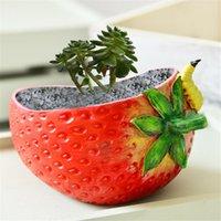 Big Strawberry Resin Flower Pot Succulent Planter Flower Container Desktop Bonsai Plant Planter Vase Garden Creative Decoration L0409