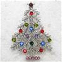 C549 E Multicolor Crystal Rhinestone Tree Wholesale Pin Broche Regalos de Navidad Joyería de Brosche