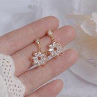DANNGLE LANDELIER Corée Sweet Cute Cute Crystal Crystal Tempérament Géométrique Zircon Boucles d'oreilles Zircon pour femmes Pendientes