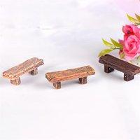 3pcs Carino sedia in legno Sgabello Fairy Garden Garden Miniature Decor Couple Bench Azione Figurina FAI DA TE Micro Gnome Gnome Regalo del Terrario C0220 1454 T2