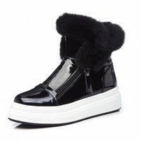 Патентная кожа Снежные Сапоги Водонепроницаемый Зимний Лодыжки Ботинки Платформа Площадь Случайный Мех Лодыжки Botas Mujer Увеличение Высота Короткие Boot F5PE #