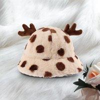 Wide Brim Hats 40# Winter Deer Ear Plush Bucket For Women Soft Velvet Fisherman Cap Lady Tourism Outdoor Warm Hat Flat Top