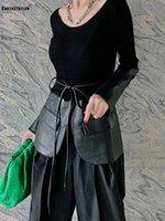 Pesante artigianato cuciture in pelle PU in pelle pizzo irregolare maglione lavorato a maglia girocollo girocollo pullover donna autunno stile maglioni da donna