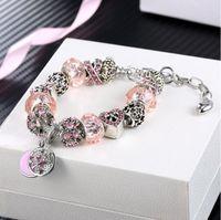 Nova moda prata placa encantos pulseira contas europeias pulseira de jóias braceletes para g mulheres cd