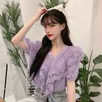 Women's Blouses & Shirts Purple Womens Tops And Sweet Style Ruffles Chiffon V-neck Loose Korean Clothes Chic Summer Women
