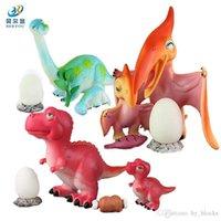 مقلد ديناصور نموذج لعبة لينة الغراء الأم والبيض البيض ديناصور مجموعة الأطفال لغز لعب هدية الأطفال والطف الأطفال