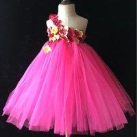 Girl's Dresses Little Girls Flower Petals Tutu Dress Kids Crochet Single Shoulder Tulle Tutus Ball Gown With Headband Set Children Party