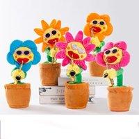 Carino divertente fiore incantevole fiori girasole peluche giocattoli di musica fatti a mano luminescenza incantesimi di fiori romanzo stile sax sing danza divertente styling cambiamento
