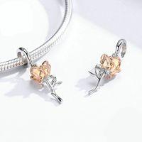 Bamoer 3D Gül Çiçek Kolye Charm 925 Ayar Gümüş Gül Gül Altın Renk Charms Bilezik veya Kolye DIY Bijoux 1767 V2