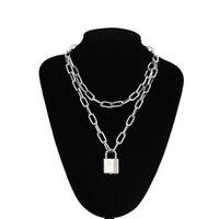 Colares Pingentes Lock Chain Colar com um cadeado para as mulheres homens punk jóias no pescoço 2021 Grunge Aesthetic Egirl eboy Accessories