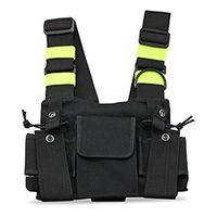 Chaleco táctico al aire libre Radio Arnés Cofre Paquete Frontal Pouch Holster Rig Bag para Walkie Talkie Auriculares Accessorie