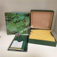 Beste hochwertige luxus neue beste stil marke dunkelgrün original holzy watch box papiere geschenk ledertasche für box uhren box
