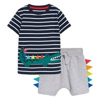 Summer Toddler Boy Clothes Casual Knitted Cotton Print Children Set Striped T Shirt + Gray Shorts 20719 210610