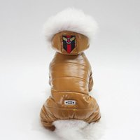Dog Apparel 2021 Pet Dogs Coat Clothes PU Leather Cotton Padded Hooded Jacket Four Legs Comfortable Thick Warm Winter