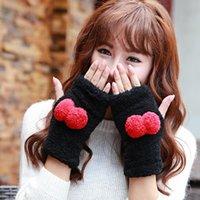قفازات أصابع 2021 ly المرأة الدافئة أفخم لطيف نصف الإصبع مجانا