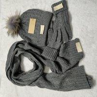 Brand Beanie Hat Scarf Glove Sets Women Men Designer Scarves Cap Gloves Winter Solid Color Ski Unisex Beanies Set