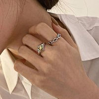 Foxanry 925 STERLING SIER STYLY Face Rings для женщин модный креативный простая цепь геометрические партии ювелирные изделия подарки оптом