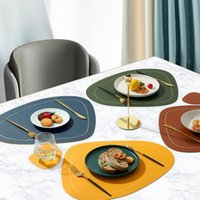 Mats & Pads 1Pc Waterproof Leather Placemat Tableware Table Pad Heat-Resistant Non-Slip Silicone Soft Solid Coasters Accessories