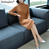 Women's Sweaters Baishanglinna Women Long Sweater 2021 Autumn Winter Solid Color Wool O-neck Warm High Quality Knitted Dress