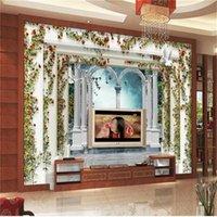 Kundenspezifische Größe 3D PO Tapete Wandbild Wohnzimmer Rebe Blätter Römische Säule Dove Bild Sofa TV Hintergrund für Wandtapeten