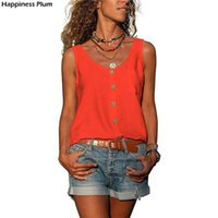 Women's Tanks & Camis Summer Orange V-neck Sleeveless Tops Women Casual Y2K Harajuku Solid Color Tee Shirts Female Button Plus Size Clothes