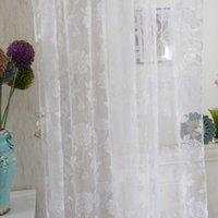 Rideaux de fenêtre Pétonie Porte de fleur Salon Salon Fashion Diviseur Sheer Panneau Draps Écharpes Voile Blanc Blanc 95cm * 200cm rideau