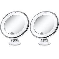 مرآة ماكياج مع ضوء 1x 10x التكبير مزدوج الوجهين 360 درجة دوران الصمام الغرور كروم الانتهاء لمس البطارية المحمولة المحمولة