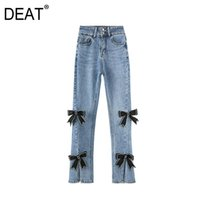 [Deat] 2021 Frühlingsmode Flut Bleistift Pants Lose Massive Farbe Split Gabel Hohe Taille Bogen Persönlichkeit Frauen Jeans 13C622 Frauen