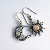 Boemia sole e orecchini luna argento colore orecchini a goccia di cristallo donne femmina boho moda gioielli regalo