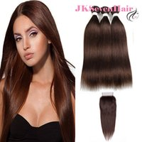 Colored Silky Straight Remy Virgin Brazilian Human Hair Extensions 3 Bundles With 4x4 Lace Closure Dark Brown Malaysian Weave Wefts Factory Price