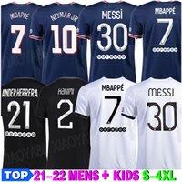 21-22 Messi MBappe Hakimi Sergio Ramos Wijnaldum Futbol Forması 21 22 Futbol Gömlek 2021 2022 Marquinhos Erkekler + Çocuk Kiti Üniforma Enfants Maillot De Ayak