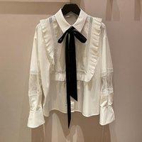 Women's Blouses & Shirts 2021 Autumn Women Blouse Slim Cotton Shirt White JK Style With Tie Lace Turn Down Collar Korean Design Top Female L