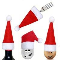 Christmas Cutlery Hat Décorations Cap Cuisine Vaisselle Vaisselle Sac Sac Fête Cadeau Noël Ornement Décorations de Noël pour la table Home HWD9404