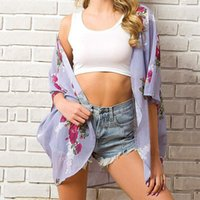 Women's Swimwear Women Loose Blouse Floral Print Summer Casual Boho Chiffon Coat Shawl Kimono Cardigan Tops Shirts Female Haut Femme