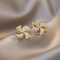 Stud Rotatable Windmill Earrings Elegant Women's Temperament Jewelry Fashion Creative Design Romantic Gifts