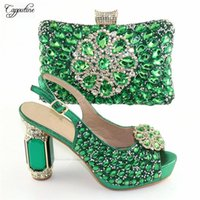 Dress Shoes Wonderful Green High Heel And Purse Handbag Sets With Luxury Stones CR170, Height 11.5cm