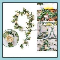 Decorative Flowers Wreaths Festive Supplies & Gardenartificial Eucalyptus Vine With Rose Peony Wisteria Flower Rattan Silk Simation Leaves F