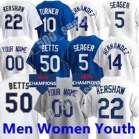 Пользовательские мужчины Женщины Молодежный бейсбол Mookie Betts Jersey Max Scherzer Muncy Julio Urias Albert Pujols Cody Bellinger Clayton Kershaw Justin Trea Turner Walker Buehler