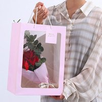 Gift Wrap Clear Window Tote Bag Kraft Paper Bags Flower Box With Handle Packing Boxes Valentine's Day Warpping Wedding Decor